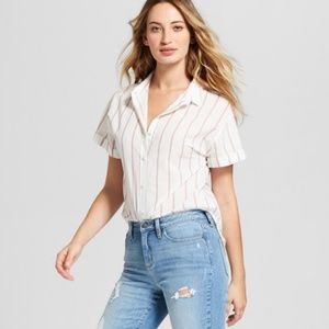 5 for $25 Striped Short Sleeve Button-Down Shirt